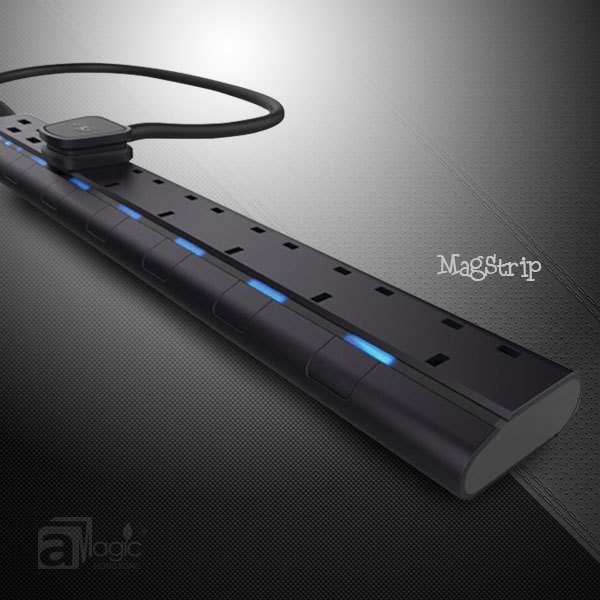 aMagic MagStrip 13A UK/US power strip with 6 sockets and 4 USB charging ports Certified by Intertek