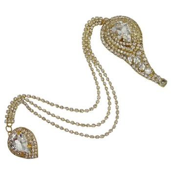 Indian Gold Tone Cz Chain Pin Brooch Wedding Wear Men Broach Costume Jewelry