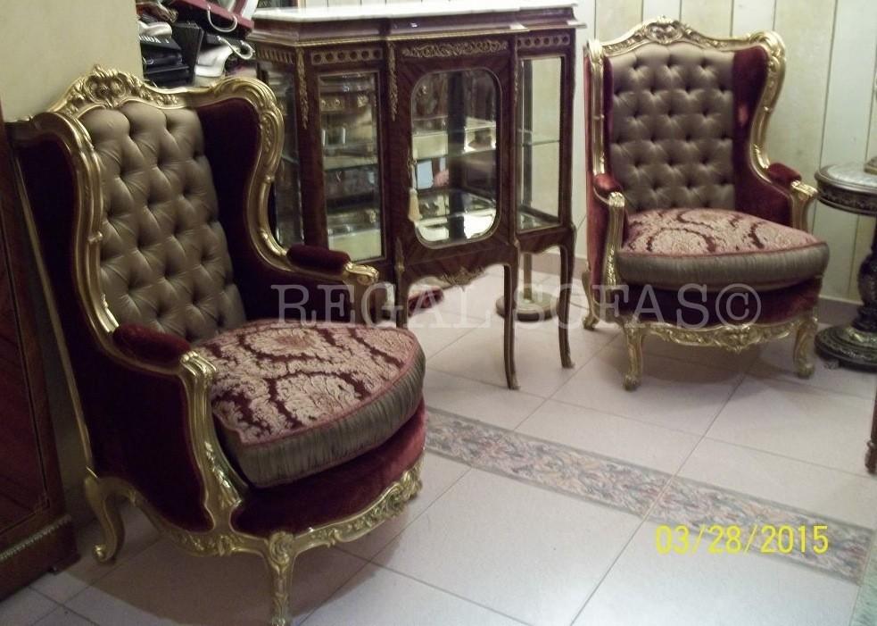 Damasco De Lujo Antiguo Oro Rojo Terciopelo Sillones Luis Xv Seda ...