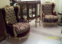 Damask Luxury Antique Red Gold velvet armchairs Louis XV Traditional silk Furniture Italian French Arabian Indian Royal Vintage