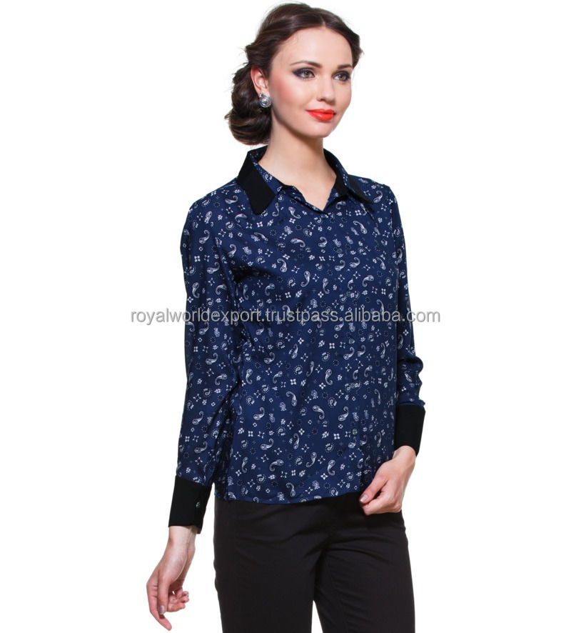 Blue Printed Shirt With Contrast Collar And Cuff Designer Top ...
