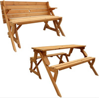 Teak Wood Price Indonesia 2in1 Interchangeable Folding Picnic Patio Table and Garden Bench outdoor furniture