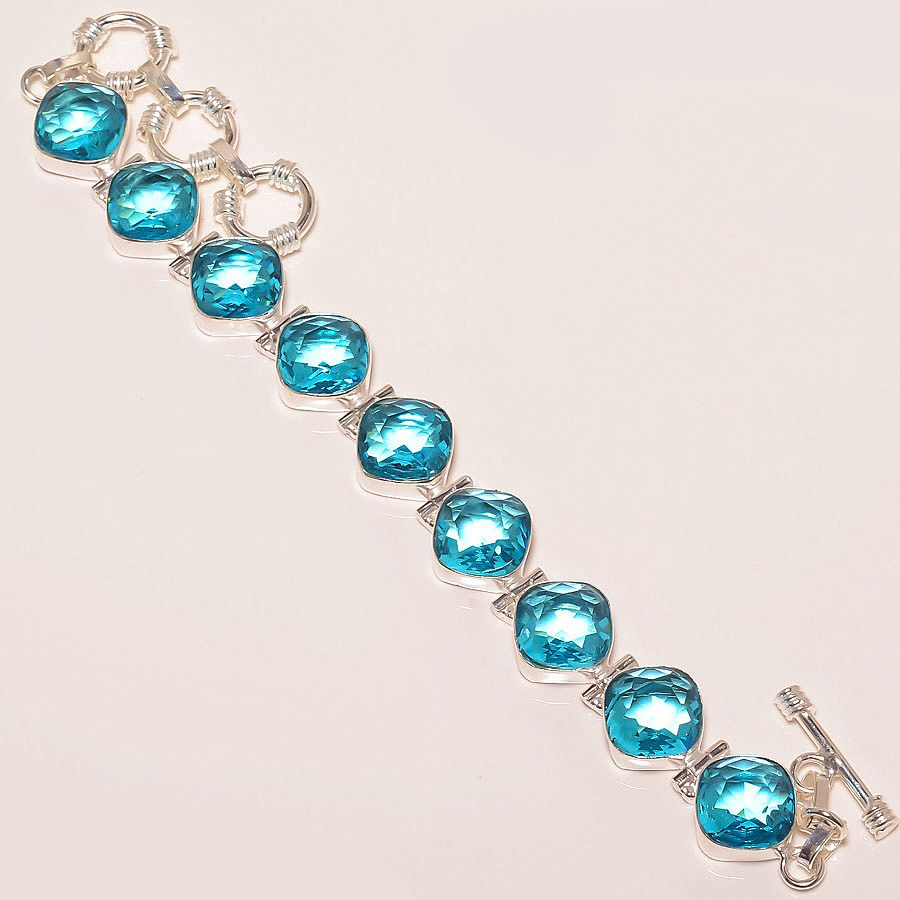 Wholesale Blue Topaz Cushion Diamond Cut Gemstone Silver Bracelet Jewelry