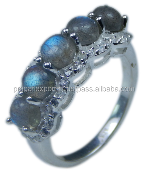 Handmade Fine Jewelry 925 Sterling Silver Cubic Zirconia And 5mm Round Labradorite Ring