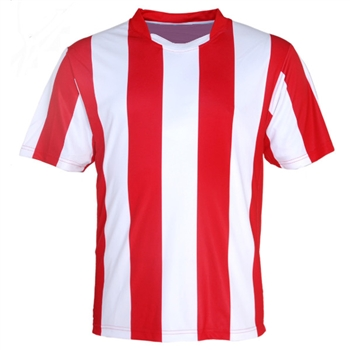 141a5d9cb custom printed soccer jersey   STRIPED SUBLIMATED SOCCER JERSEY RED WHITE