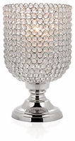silver plated modern unique shiny crystal centerpiece candle holder