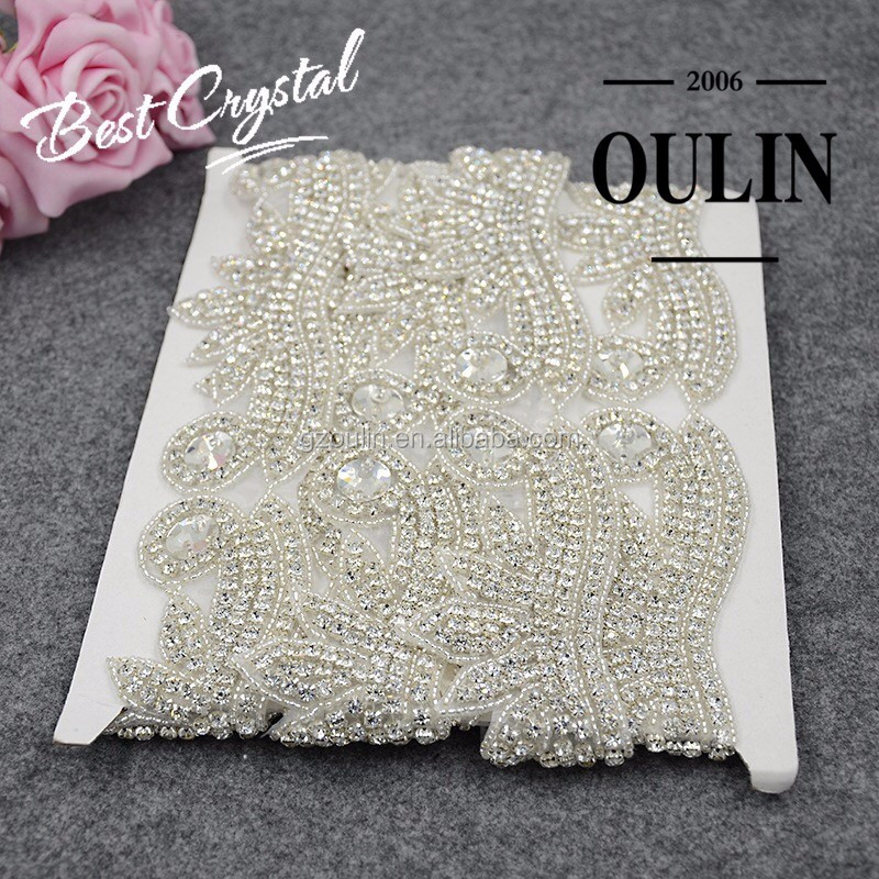 Breaded lace trim factory price bridal beaded rhinestone hot fix rhinestone beaded lace trim for wedding dress