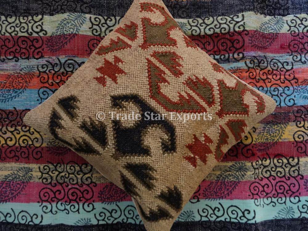 Indian Kilim Cushion Cover Jute Ethnic Pillows Boho Vintage Shams 18x18 Hand Woven Rug Cushions Throw