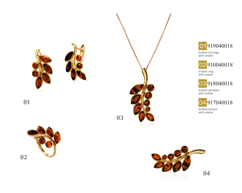 Kameya 14k rose gold handmade natural amber set (necklace, earrings, ring, brooch)