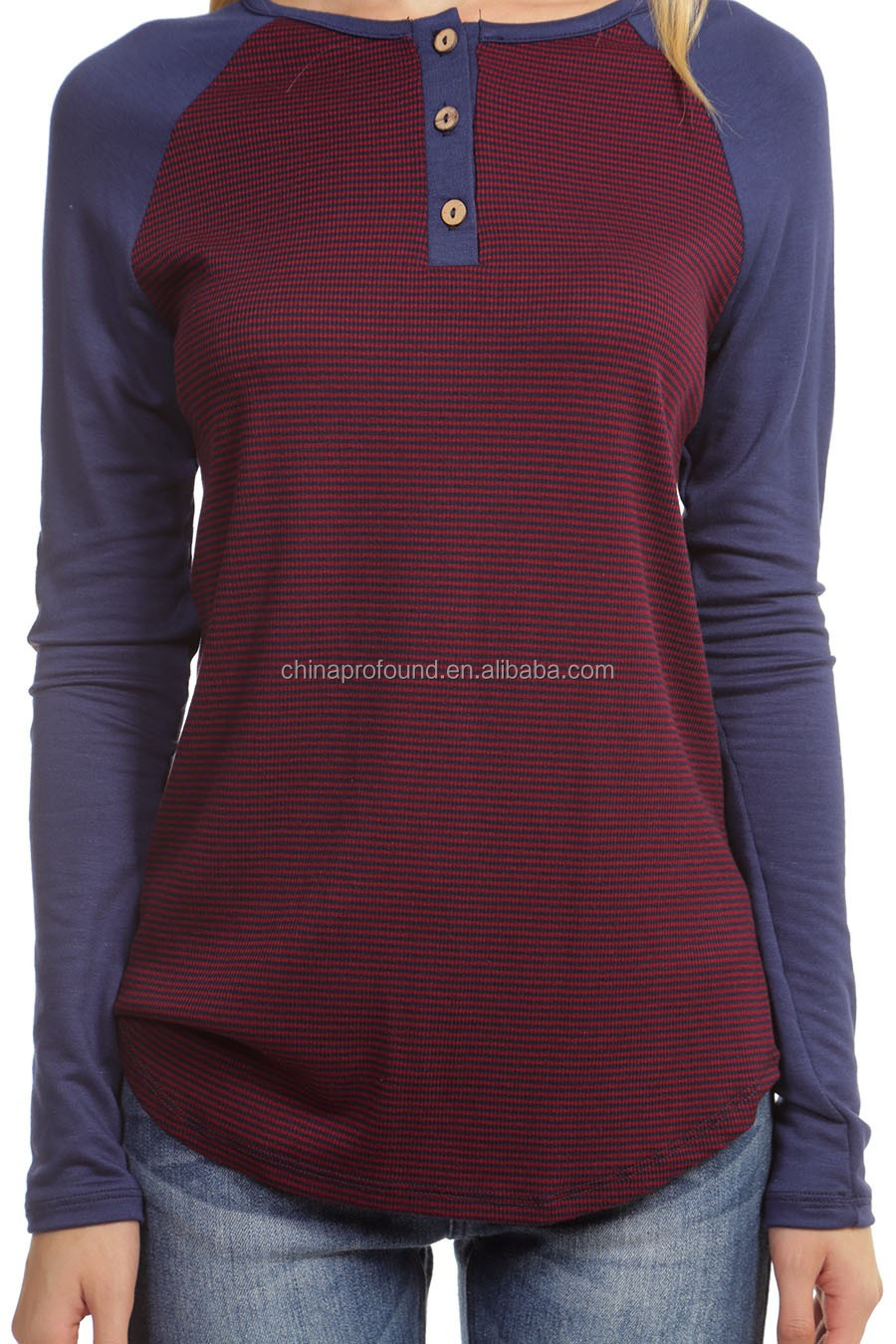 multi color button casual long sleeve slim fit blank wholesale 100% cotton crew neck striped t-shirt women 2016