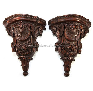 Antique Hand Carved Wall Shelves Wooden Shelves , Antique Hand Carved Solid French Oak Wall Bracket Shelf