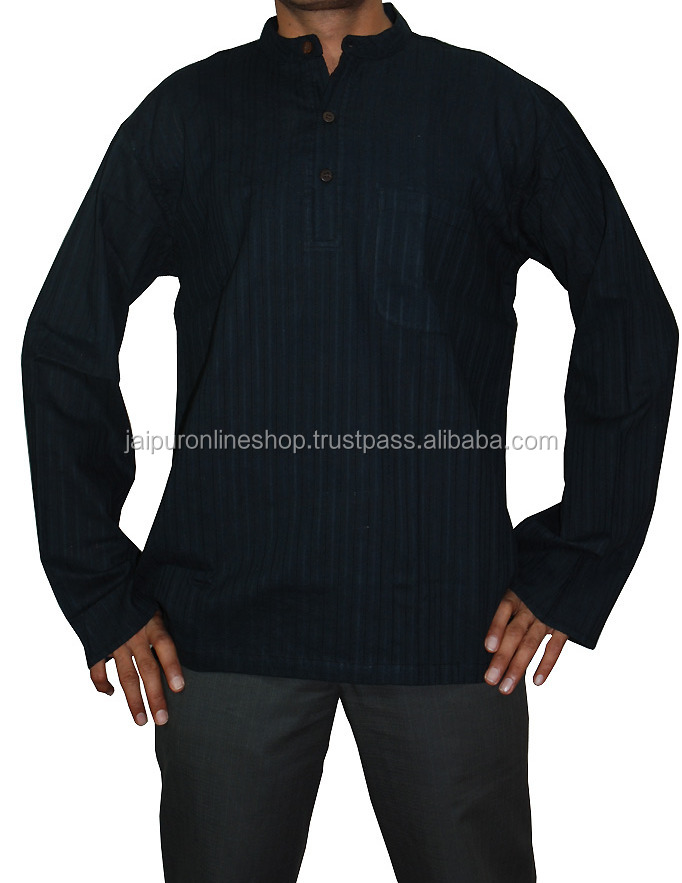 Men's Party Wear Designer Black Short Cotton Kurta