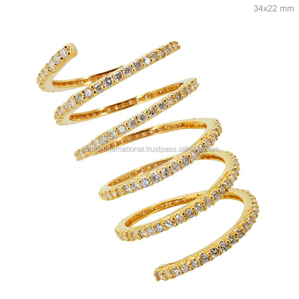 Pave Diamond Ring Yellow Gold
