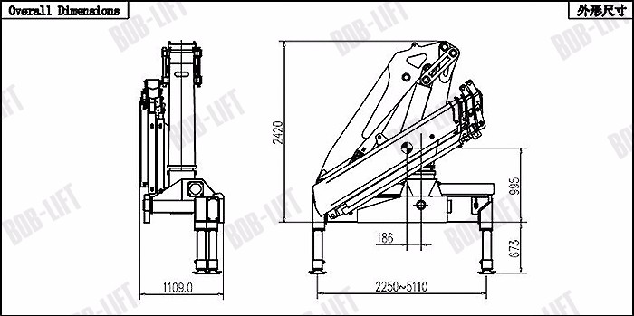 10 Ton Knuckle Boom Truck Mounted Crane BOB LIFT For Sale With ISO