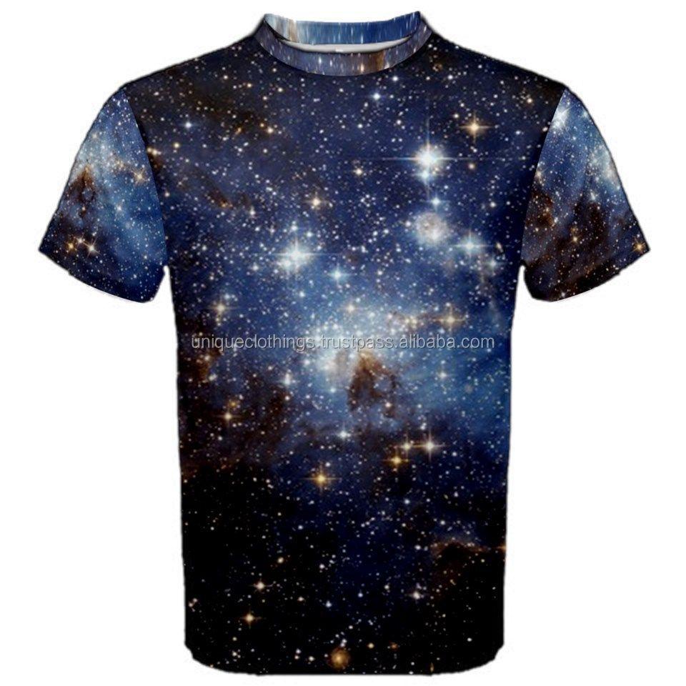 Galaxy Printed Custom T Shirt For Men Wholesalesublimated T Shirt