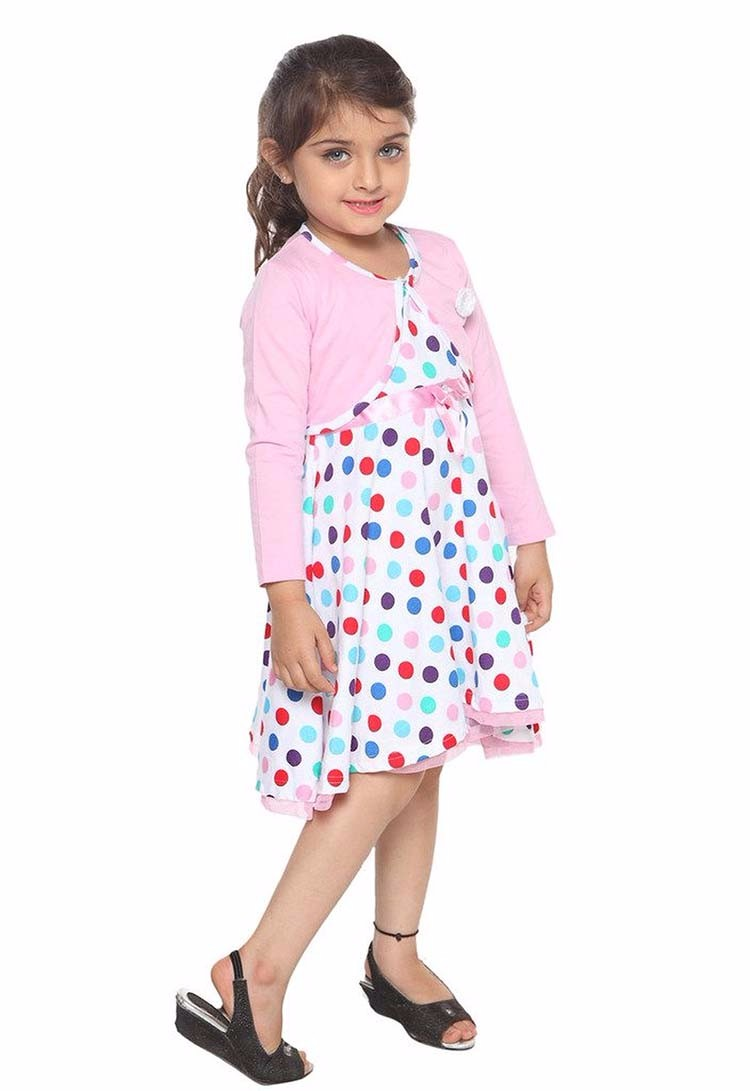 New Style Shrug Girls Kids Clothes Dress With Dot Printed