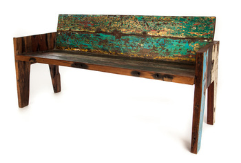 indonesian boat wood bench