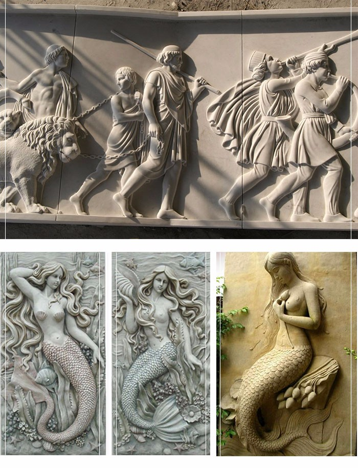3d art decorative wall carving figure sculpture natural marble stone