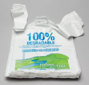 100 Biodegradable And Compole T Shirt Bags According To En 13432 With Vincotte S256