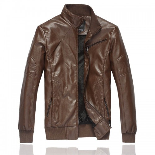 Trends Fit PU Leather Jacket Coat Top Brain For Men