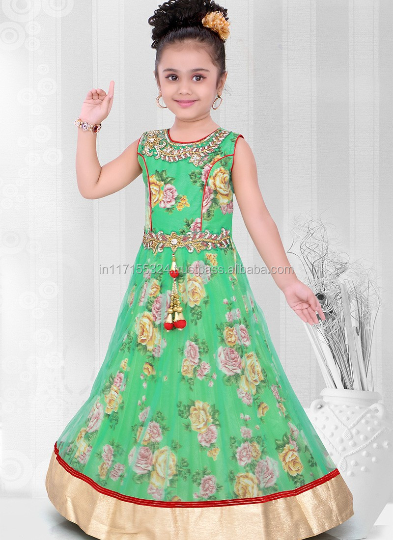 2016 Kids Wear Children Frocks Designs Peach Party Wear Indian ...