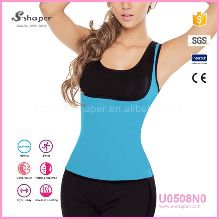 Private Label Neoprene Vest Waist Slimming Body Shaper Girdle Shirts For Women