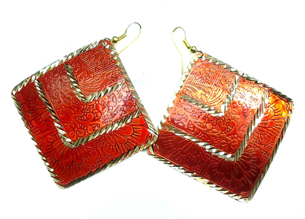 Crafty12 Antique Hot New Fashion Coral Color Brass Earrings