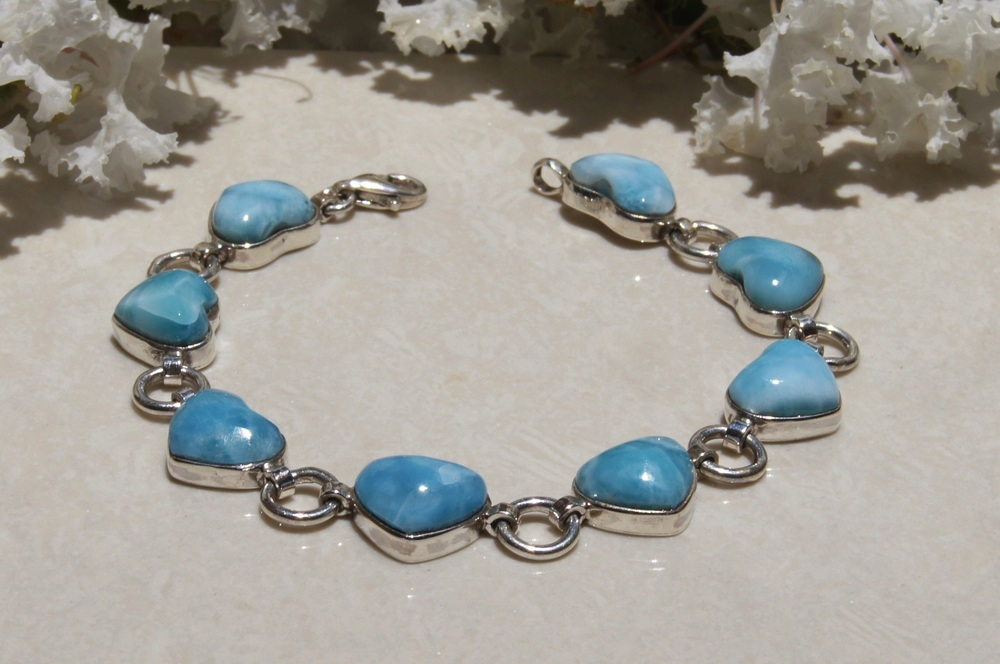 NEW DOMINICAN AA MARBLED HEART-SHAPED LARIMAR STONES .925, STERLING SILVER BRACELET JEWELRY