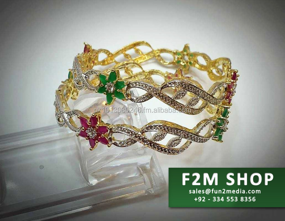 Golden Based Stone Studded Bangles