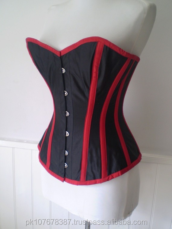 Steel Boned Black with Red Boning Overbust Corset