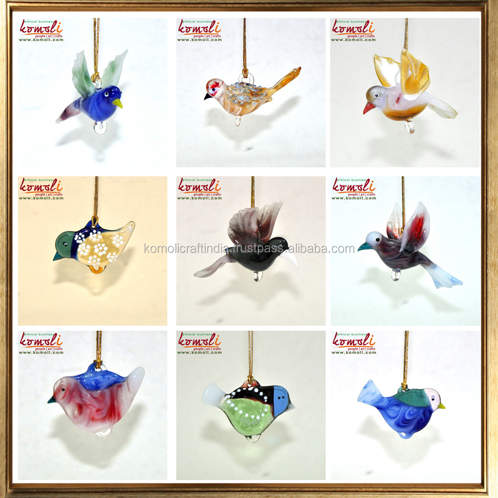 Glass animal ornaments - Colorful Heart Shaped Small Clear Flat Glass Ornaments Birds