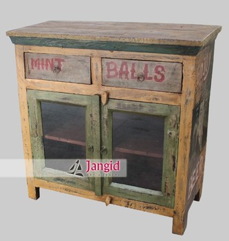 Wooden Antique Painted Rustic Sideboard Cabinet Furniture For Dining Room