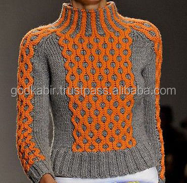 Womens Hand Knitted Turtleneck Sweater Xssmlxlxxl Wool Hand