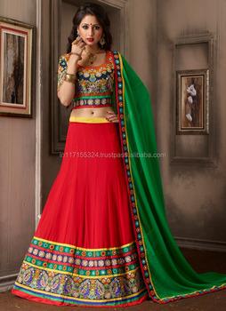 ef4abd4efc5 Red lehenga choli online sale - Online shopping lehenga choli - Party wear  mirror work lehenga