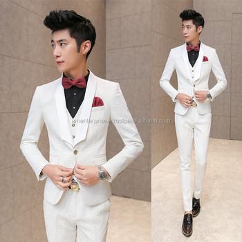 2017 Tuxedo Wedding Suit Slim Fit Suits Men White