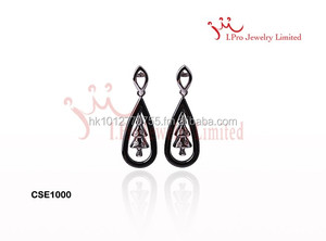 Black Silver Ceramic Earrings with Christman tree shape