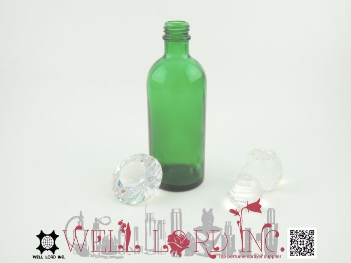 Hot sale concise design 110ml green glass lotion bottle
