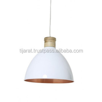 white pendant light metal wood ceiling light shade hanging lamp