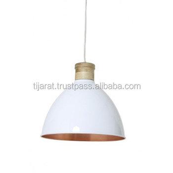 White Pendant Light Metal Wood Ceiling Shade Hanging Lamp