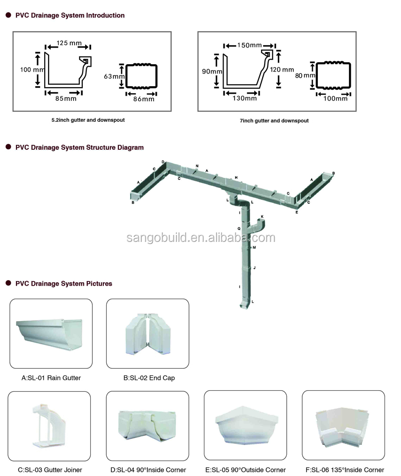 Asa plastic pvc rain water collector gutter and fittings