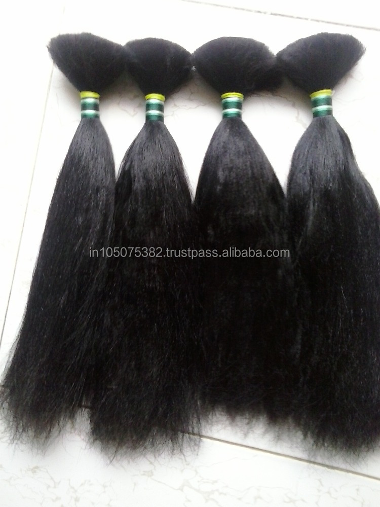 Unprocessed Indian yaki straight BULK hair for Braids..