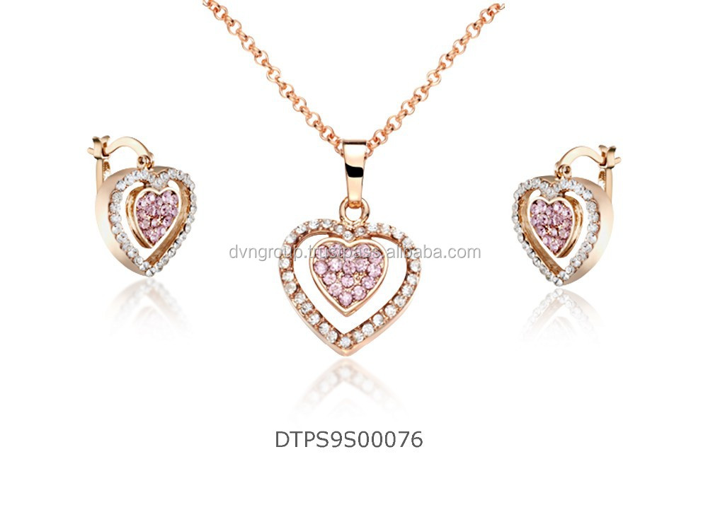 Rose Gold plated Heart with CZ Studded Fashion PendantSet