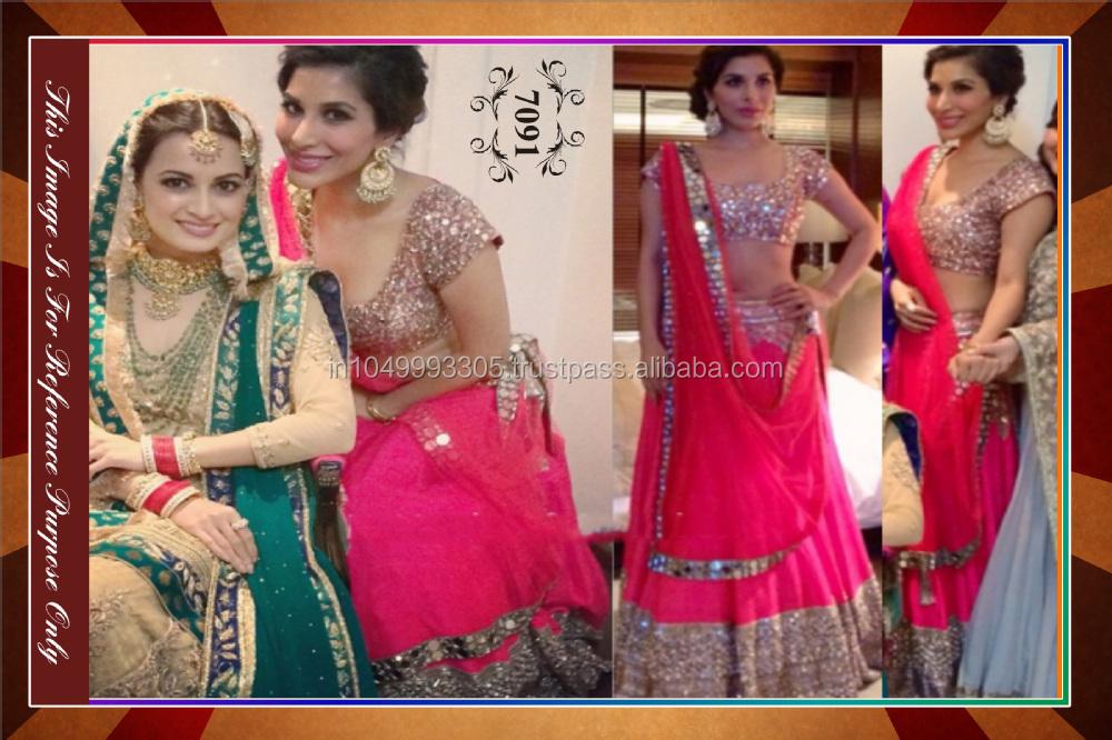 Indian Latest Pink Color Bollywood Designer Lehenga Saree