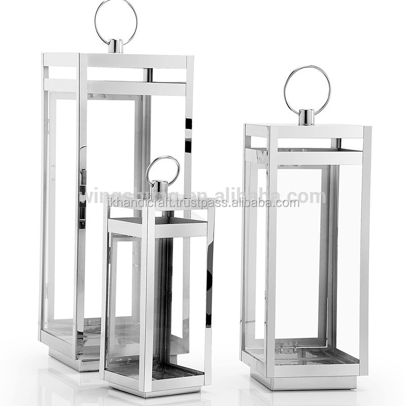 Stainless Steel Outdoor / Large Clear Glass Hurricane Lantern ...