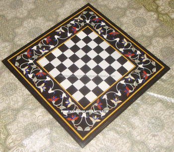 Chess Design Marble Inlay Coffee Table