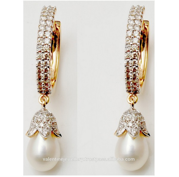 Pretty Pearl Designer Diamond Earrings Indian Design Style Gold Hoop Latest Earring Fashionable Product