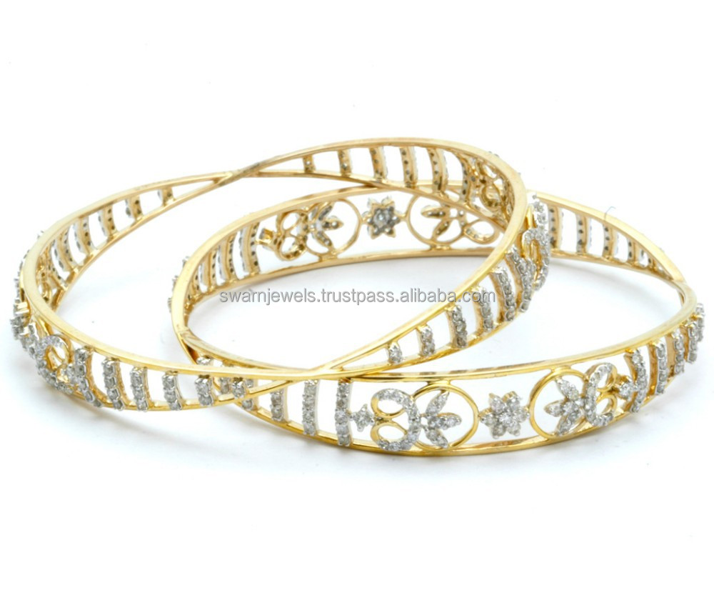 nigaam picture bangles of gold studded white bangle diamond