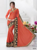 Enhance the Test of Beauty with Satin Chiffon Fabric Orange Color Stone Patch Work Saree
