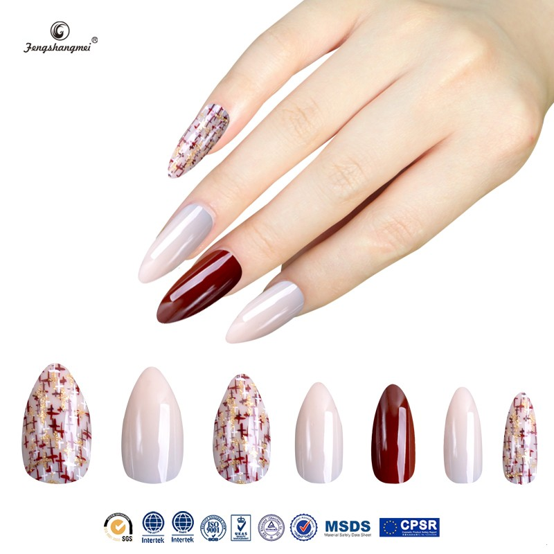 Fengshangmei Best Seller Free Sample Colorful Fake Nail Tips Acrylic