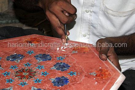 "18"" Marble Flower Vase Jar Real Lapis Lazuli Gemstone Mosaic Inlay ..."